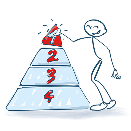 Stick figure with a pyramid and numbers