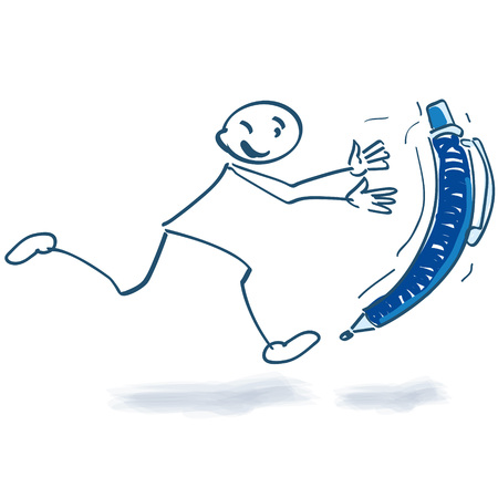 runing: Stick figure running behind ballpoint pen