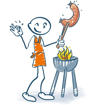 Stick figure with grill and grilled sausage