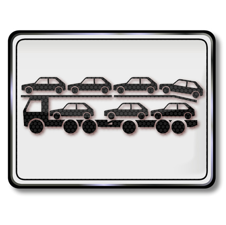Sign with auto transporter and logistics Illustration
