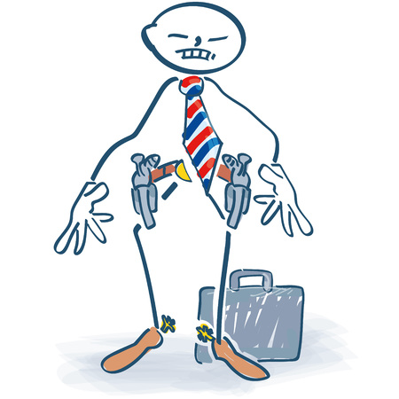 crime solving: Stick figure as a manager with a revolver