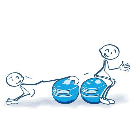 accidental: Stick figure with medicine balls