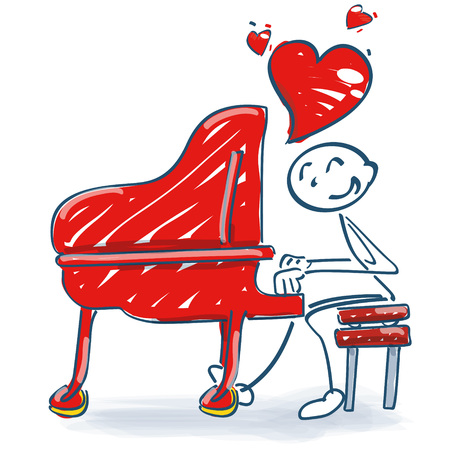 Stick figure at a piano and a love song
