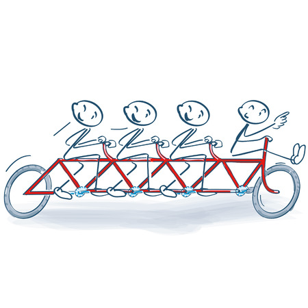 Stick figures and cycling as a group Ilustração