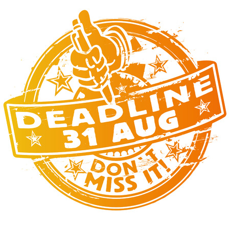 Rubber stamp Stamp deadline 31th August Illustration