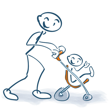 Stick figure with children buggy and little child