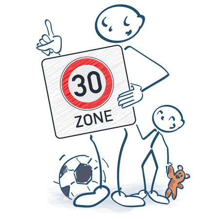Stick figure with thirties zone sign in front of the body