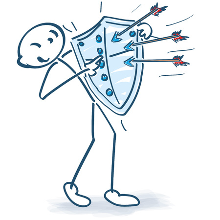 Stick figure with arrows and shield