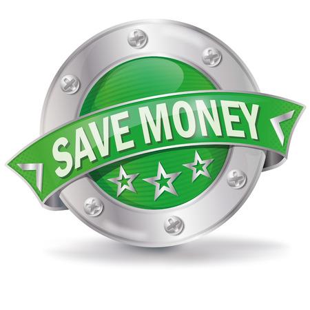 Knop met geld besparen Stock Illustratie