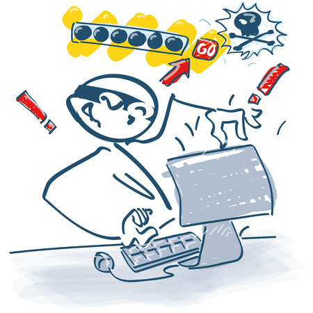 Stick figure on the computer as a pisher Illustration