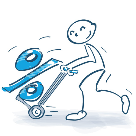 Stick figure with hand truck and a thick percent Illustration