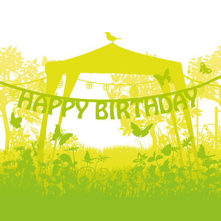 Pavilion and party with birthday lettering in the garden