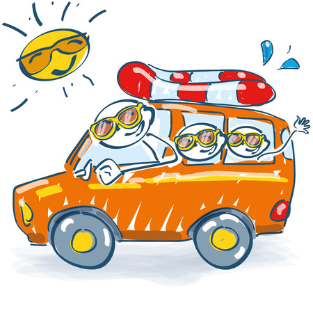 short trip: Stick figure with a trip to the summer holiday Illustration