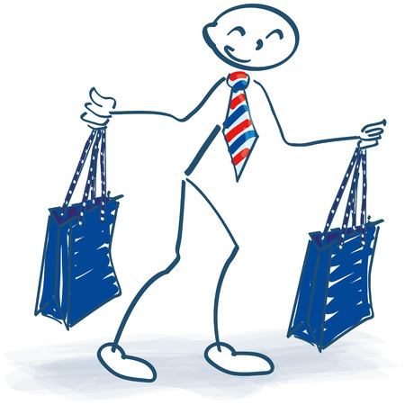 Stick figure with two shopping bags while shopping