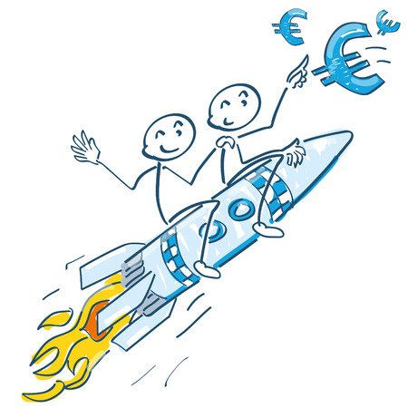 Stick figures sitting on a rocket and flying Euros Illustration