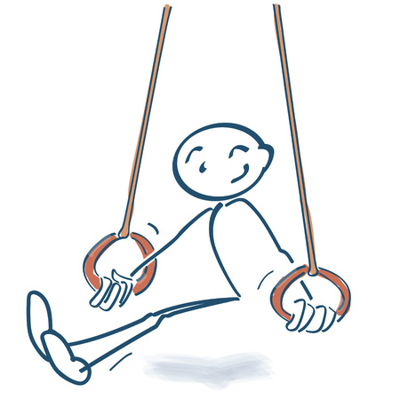 Stick figure with sports and rings Ilustracja