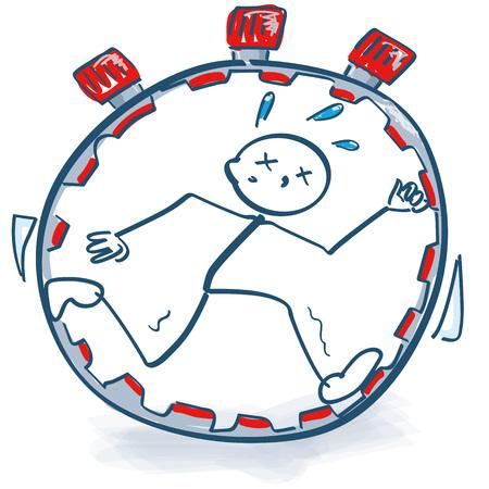 Stok figuur in de stopwatch en tijdsdruk Vector Illustratie