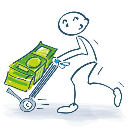 Stick figure with sackcloth and big bundle of money