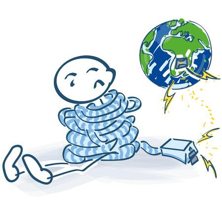 縛られスティック図と世界のインターネットと接触しません。