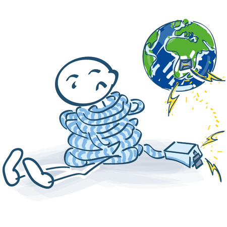 electricity export: Stick figure tied up and no contact with the internet in the world Illustration