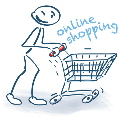 Stick figure with shopping cart and online shopping
