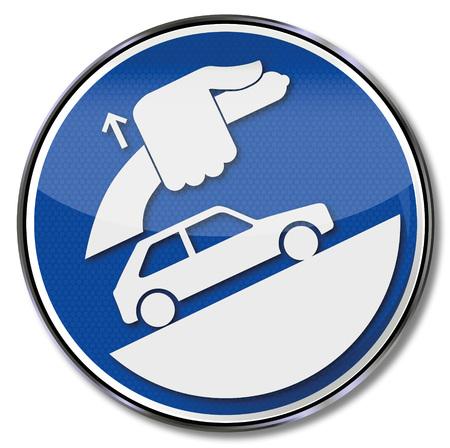 항상 핸드 브레이크를 적용하고 차를 잠그십시오. 일러스트