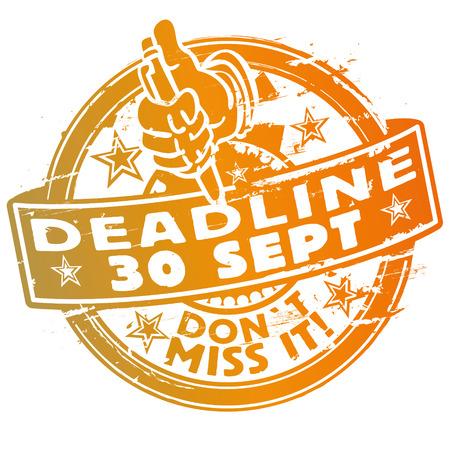signing: Rubber stamp deadline september 30th Illustration