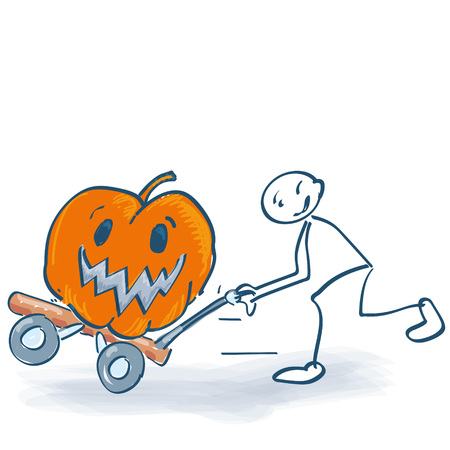Stick figure harvesting a fat pumpkin with a sackcloth