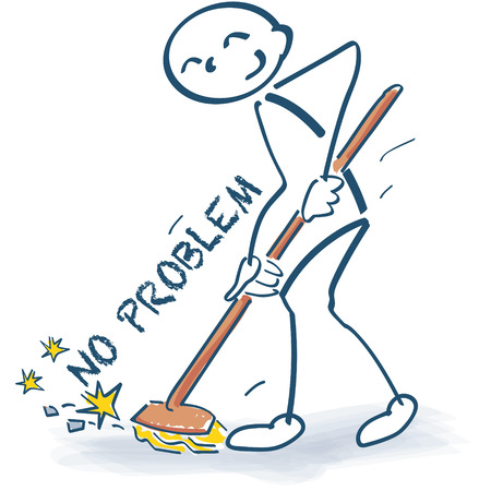 Stick figure sweeping away the problems with a broom