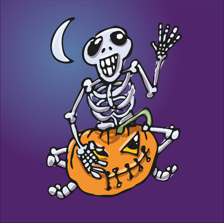 Skeleton sitting on a pumpkin icon.