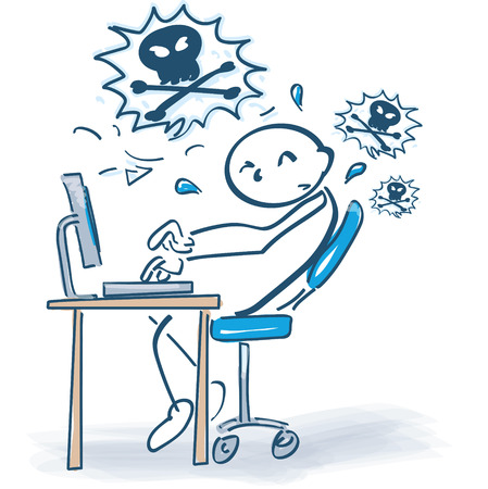 Man frustrated in front of a computer. Illustration