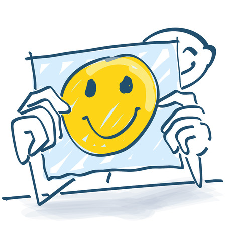 potential: Stick figure behind a note paper and a happy face on it