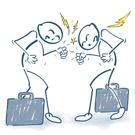 Stick figure fight in the office Illustration