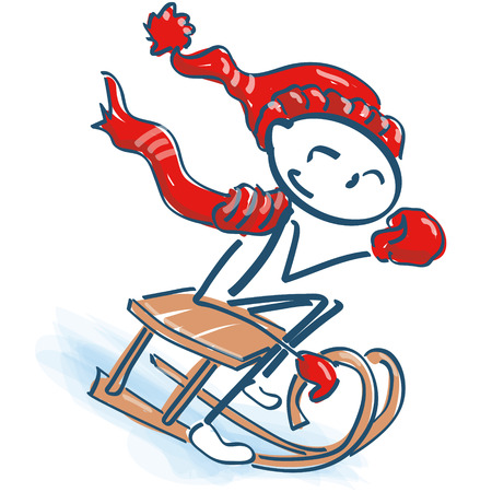 Stick figure with scarf and cap on the sled Illustration