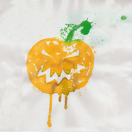 Pumpkin, watercolor and Halloween Stock Photo