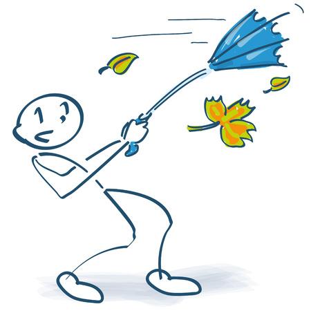 Stick figure with umbrella in autumn storm Stock Illustratie