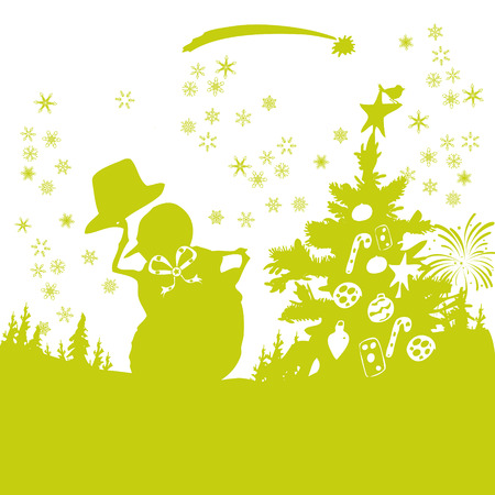 sleet: Snowman with a decorated Christmas tree Illustration