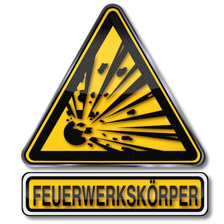 Hazard label with warning explosive fireworks
