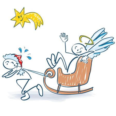 Stick figure as Nicholas pulls a sleigh with little angel