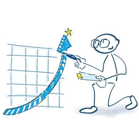 Stick figure checks a curve that goes up Illustration