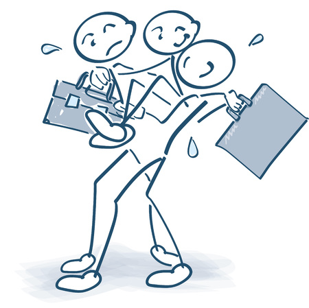 Stick figures carrying an injured colleague with a bag