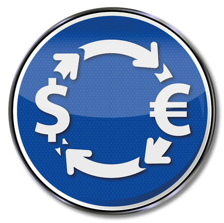 barter system: Sign with money exchange in euros and dollars