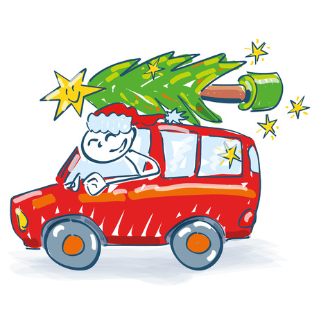 personality: Santa Claus transports christmas tree with a car Illustration