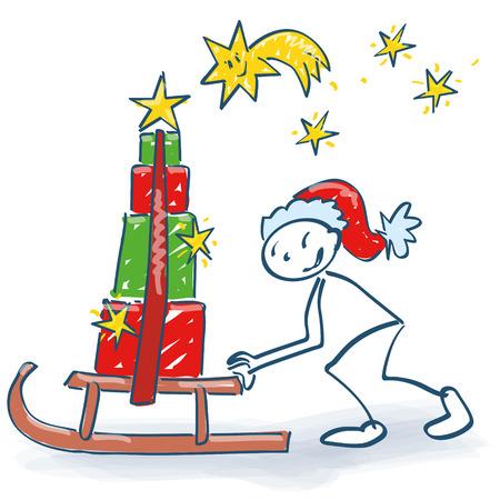 そりスライドとサンタのように図をスティック多くのクリスマスパッケージ  イラスト・ベクター素材