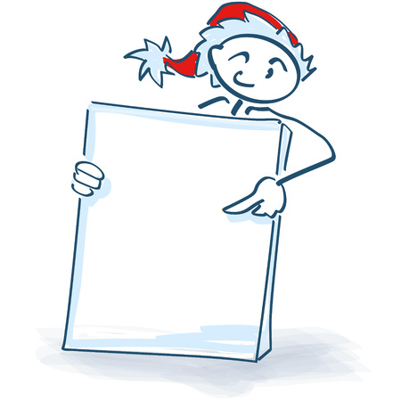 Stick figure as Santa Claus with a poster in front of the body