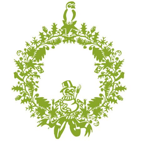 Vignette for Christmas and Christmas wreath Illustration