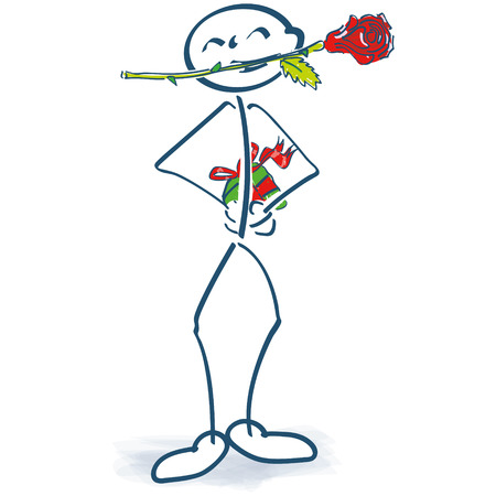 Stick figure with rose in the mouth and gift behind his back