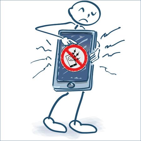 Stick figure with smartphone and phone damage Vektorové ilustrace