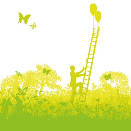 薮の中から正常にはしごを登ってください。