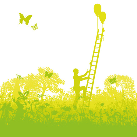 Climbing up a ladder successfully out of the thicket Ilustração
